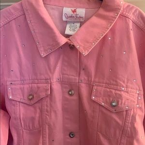 Pink rhinestone and gem jean jacket